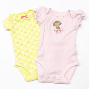 Carter's yellow & pink Mommy's Girl onesies